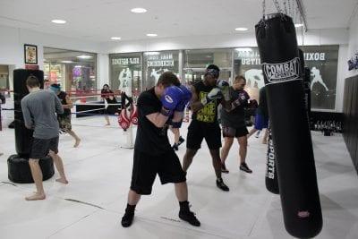 boxing class heavy bag