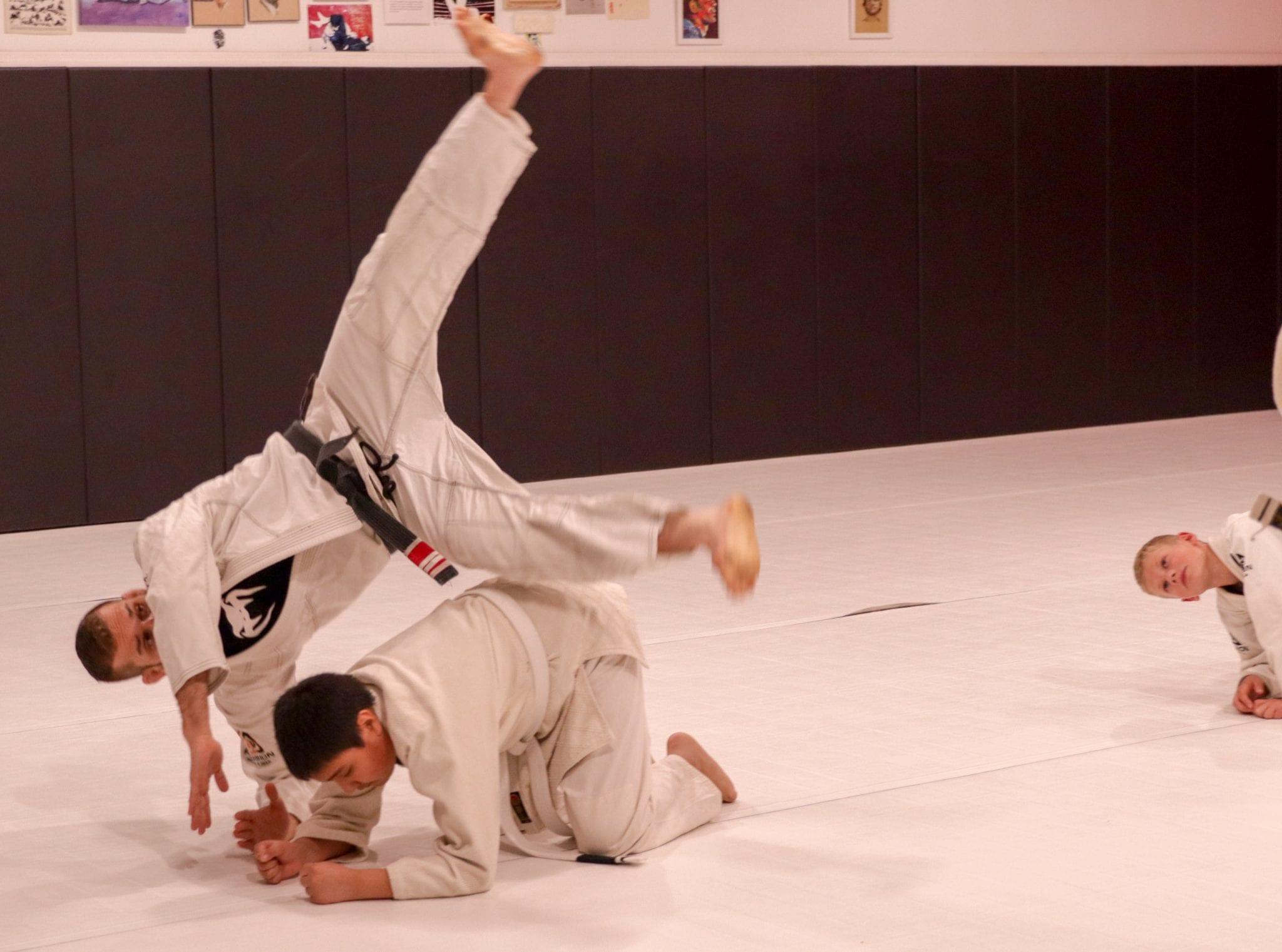 brian practicing a bjj move